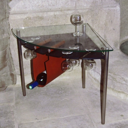 Table basse en quart de cercle for Petite table d angle