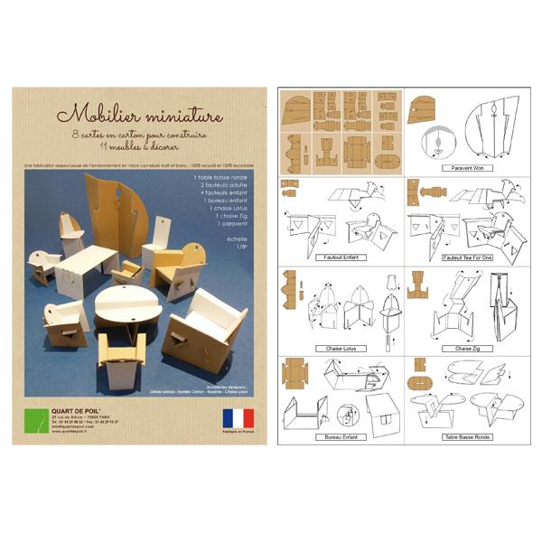 pochette de miniatures en carton 11 meubles miniatures monter par emboitement. Black Bedroom Furniture Sets. Home Design Ideas