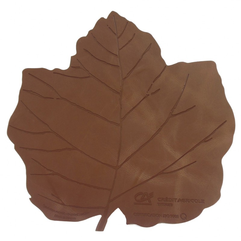Recycled Leather Mouse Pad Cut In A Vine Leaf Shape With Hot
