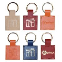 Porte-clés carré en synderme ou cuir recyclé Geometric leather Key Rings