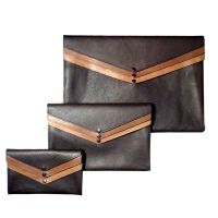 Pochette triple en cuir en 3 tailles Three Pocket Clutch Bag